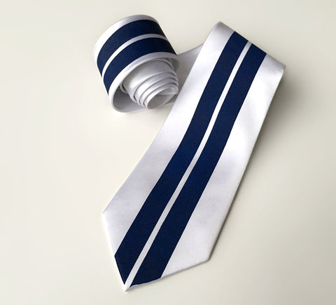 Racing Stripes: White & Blue Microfiber Necktie