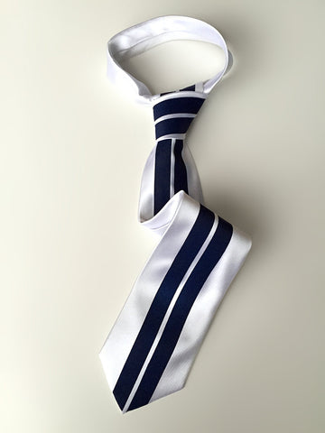 Racing Stripes: White & Blue Silk Necktie