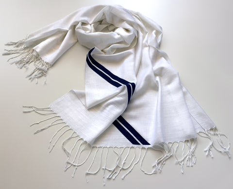 Racing Stripes: White & Blue Linen-Weave Pashmina