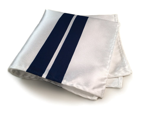 Racing Stripes: White & Blue Microfiber Pocket Square