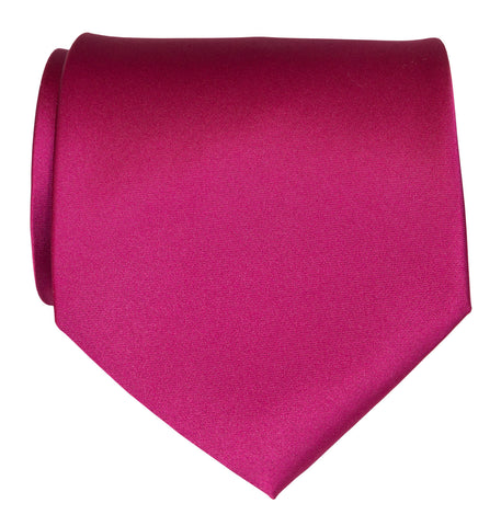 Raspberry Necktie. Red-Purple Solid Color Satin Finish Tie, No Print