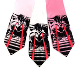 Laser Kitten Neckties: Black and glow red on light pink, white, pink.