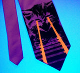 Laser Cat Tie: Black and glow red on pink in blacklight.