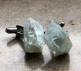 Aquamarine Cufflinks, raw stone cuff links, Cyberoptix