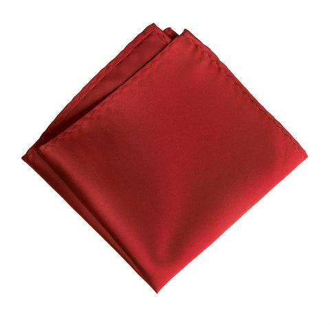 Red Pocket Square. Solid Color Satin Finish, No Print