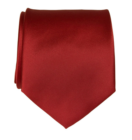 Red Necktie. Solid Color Satin Finish Tie, No Print