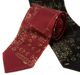Circuit Board necktie. Gold on burgundy and black.