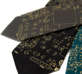 Circuit Board Neckties. Gold on olive, black and emerald.