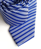 Blue striped linen + silk blend woven necktie.