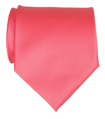 Rose Pink Necktie. Solid Color Satin Finish Tie, No Print