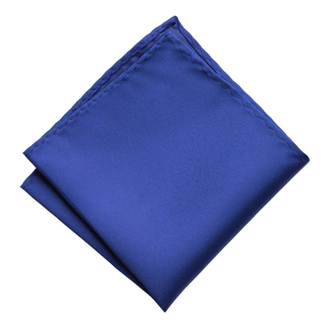 Royal Blue Pocket Square. Medium Blue Solid Color Satin Finish, No Print