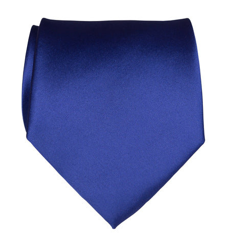 Royal Blue Necktie. Medium Blue Solid Color Satin Finish Tie, No Print