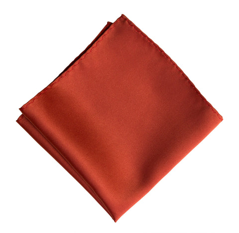 Rust Red Pocket Square. Solid Color Satin Finish, No Print