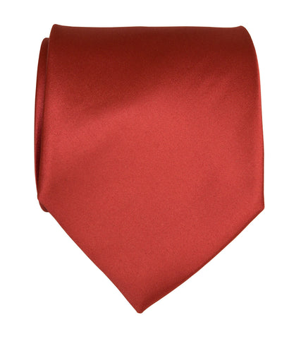 Rust Red Necktie. Solid Color Satin Finish Tie, No Print