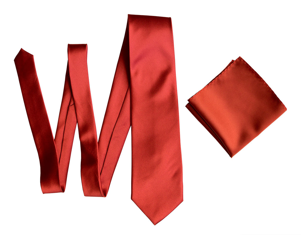 Rust Red Pocket Square Solid Color Satin Finish No Print