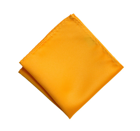 Saffron Pocket Square. Medium Yellow Solid Color Satin Finish, No Print