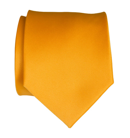 Saffron Necktie. Medium Yellow Solid Color Satin Finish Tie, No Print