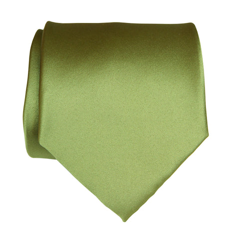 Sage Green Necktie. Yellow-Green Solid Color Satin Finish Tie, No Print