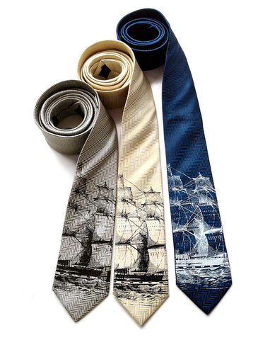 Clipper Ship Necktie. Sailing Ship Herringbone Silk Tie