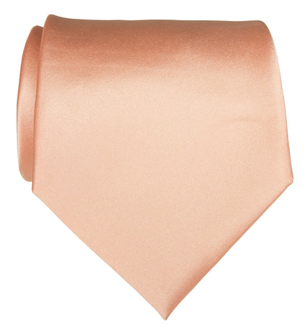 Salmon Pink Necktie. Solid Color Satin Finish Tie, No Print