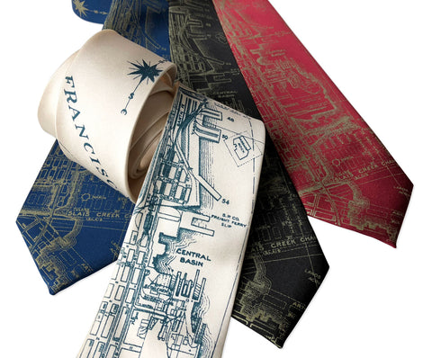 San Francisco Bay Map Necktie, Vintage California Print Tie