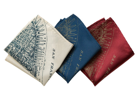 San Francisco Bay Map Pocket Square. Old California Map Print