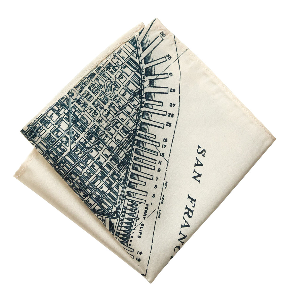 San Francisco Bay Map Pocket Square Old California Map Print