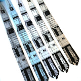 Saturn V Tie: Black ink on silver, sky, white, cream, champagne.