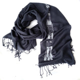 White ink on charcoal light pashmina scarf.