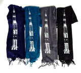 Navy, teal blue, charcoal, black light pashmina scarfs.