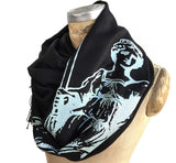 Scales of Justice Fringed Scarf, Linen-Weave Pashmina. Ice silkscreen print on black, by Cyberoptix