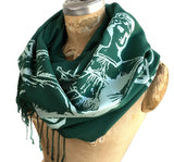 Scales of Justice Women's Scarf, Emerald Green Linen-Weave Pashmina, by Cyberoptix
