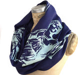 Scales of Justice Fringed Scarf, Linen-Weave Pashmina. Ice silkscreen print on navy blue, by Cyberoptix