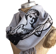 Scales of Justice Scarf, Lady Justice Linen-Weave Pashmina