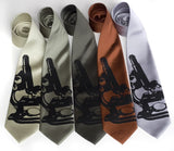 Microscope Neckties. Black on celery, sage, olive, cinnamon, silver.