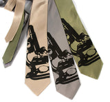 Microscope Neckties. Black on champagne, silver, sage.