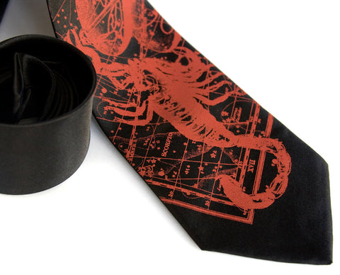Scorpio Necktie, The Scorpion. Zodiac Constellation Star Chart Tie