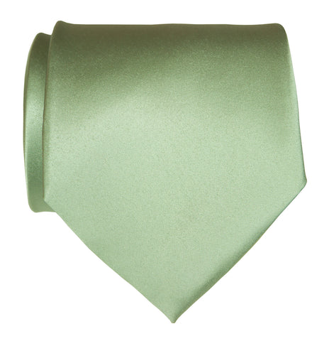 Seafoam Green Necktie. Solid Color Satin Finish Tie, No Print