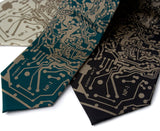 Circuit Board Necktie: Antique brass on emerald and black.
