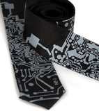 Black Circuit Board tie. Silver on black skinny.