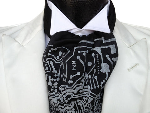 "Circuit Board Ascot: ""Short Circuit"" cravat tie."