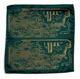 green and gold Circuit Board pocket square