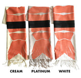 Shrimp Sushi Scarves: cream, platinum, white. Cyberoptix