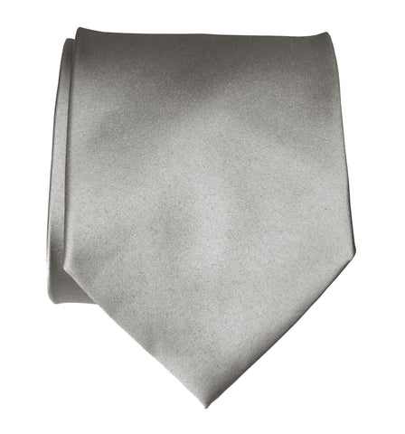 Silver Necktie. Solid Color Grey Satin Finish Tie, No Print