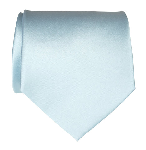 Sky Blue Necktie. Light Blue Solid Color Satin Finish Tie, No Print