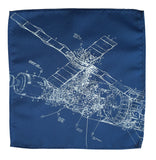 Blue Skylab Pocket Square. NASA Space Station print hanky by Cyberoptix.