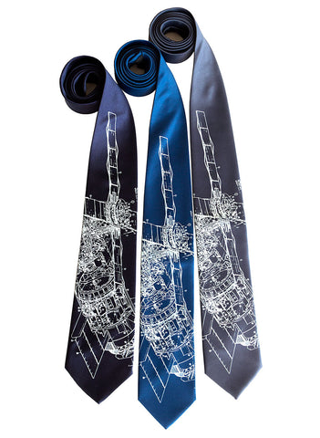 Skylab Silk Necktie, Space Station Print Tie
