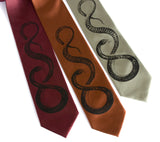 snake neckties, black on burgundy, cinnamon, sage.