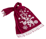 Red and White Snow Flake Scarf. Snow Print Linen-Weave Pashmina, by Cyberoptix.