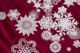 Red and White Snowflake Print Scarf. Snow Print Linen-Weave Pashmina, by Cyberoptix.